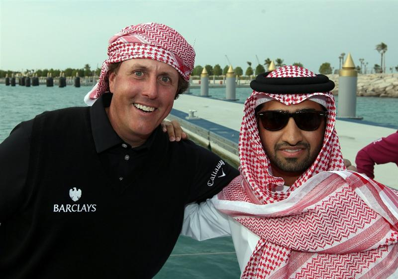 ABU DHABI, UNITED ARAB EMIRATES - JANUARY 18: Faisal al Sheikh of Events Manager of The Abu Dhabi Tourism Authority with Phil Mickelson of the USA on board the Abu Dhabi Ocean Racing entry for the 2011 Volvo Ocean Race as a preview for the 2011 Abu Dhabi HSBC Golf Championship to be held at the Abu Dhabi Golf Club on January 18, 2011 in Abu Dhabi, United Arab Emirates.  (Photo by David Cannon/Getty Images)