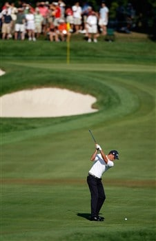 BLOOMFIELD HILLS, MI - AUGUST 07:  Robert Karlsson of Sweden hits his second shot from the eighth fairway during round one of the 90th PGA Championship at Oakland Hills Country Club on August 7, 2008 in Bloomfield Township, Michigan.  (Photo by Gregory Shamus/Getty Images)