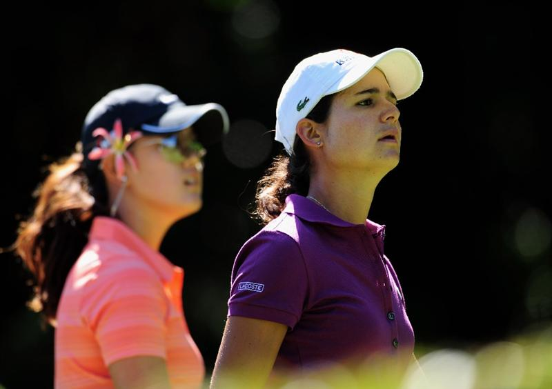 EVIAN-LES-BAINS, FRANCE - JULY 25:  Michelle Wie of USA and  Lorena Ochoa of Mexico during the final round of the Evian Masters at the Evian Masters Golf Club on July 26, 2009 in Evian-les-Bains, France.  (Photo by Stuart Franklin/Getty Images)
