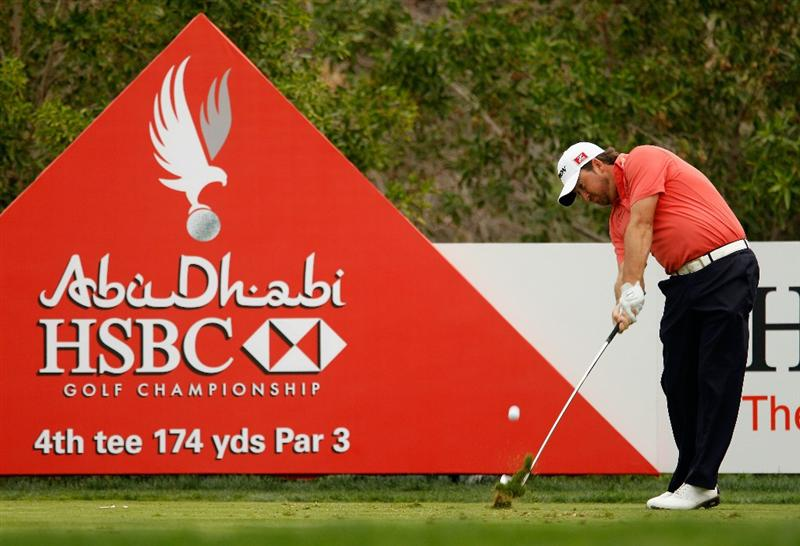 ABU DHABI, UNITED ARAB EMIRATES - JANUARY 19:  Graeme McDowell of Northern Ireland hits a tee shot during the pro-am prior to the start of the 2011 Abu Dhabi HSBC Golf Championship at the Abu Dhabi Golf Club on January 19, 2011 in Abu Dhabi, United Arab Emirates.  (Photo by Scott Halleran/Getty Images)