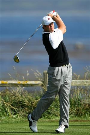 PEBBLE BEACH, CA - JUNE 17:  Amateur Hudson Swafford  hits his tee shot on the 18th hole during the first round of the 110th U.S. Open at Pebble Beach Golf Links on June 17, 2010 in Pebble Beach, California.  (Photo by Donald Miralle/Getty Images)