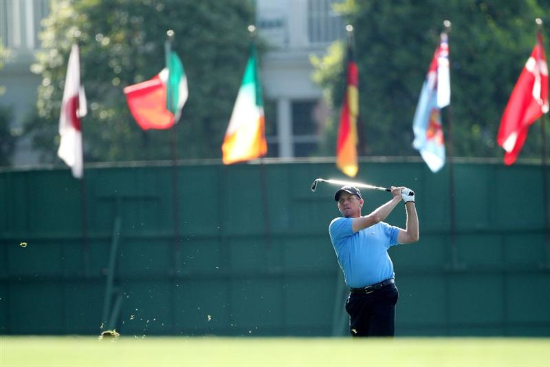 AUGUSTA, GA - APRIL 08:  Anders Hansen of Denmark hits his second shot on the first hole during the first round of the 2010 Masters Tournament at Augusta National Golf Club on April 8, 2010 in Augusta, Georgia.  (Photo by Andrew Redington/Getty Images)