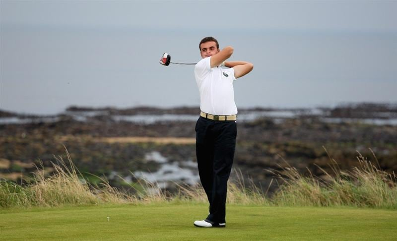 ST. ANDREWS, UNITED KINGDOM - AUGUST 30:  Cristiano Terragni of the Continent of Europe tees off on the third hole during the foursomes matches of The Jacques Leglise Trophy 2008 between Great Britain & Ireland and the Continent of Europe, held at Kingsbarns Golf Club, on August 29, 2008. in Fife, Scotland.  (Photo by Warren Little/Getty Images)
