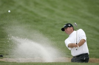 Chris Smith practices bunker shots after his second round at the BellSouth Classic at TPC Sugarloaf in Duluth, Georgia, on March 31, 2006.Photo by: Stan Badz/WireImage