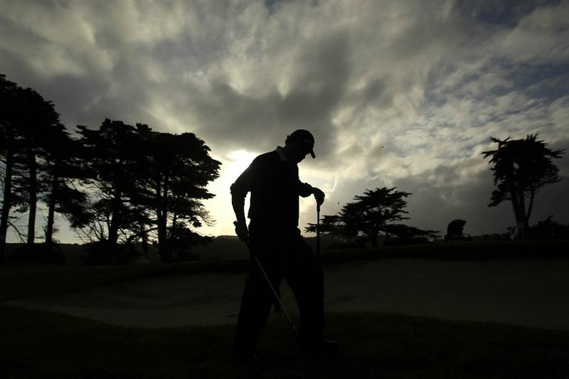 SAN FRANCISCO - NOVEMBER 07:  Michael Allen walks out of a bunker on the 16th hole during the final round of the Charles Schwab Cup Championship at Harding Park Golf Course on November 7, 2010 in San Francisco, California.  (Photo by Ezra Shaw/Getty Images)