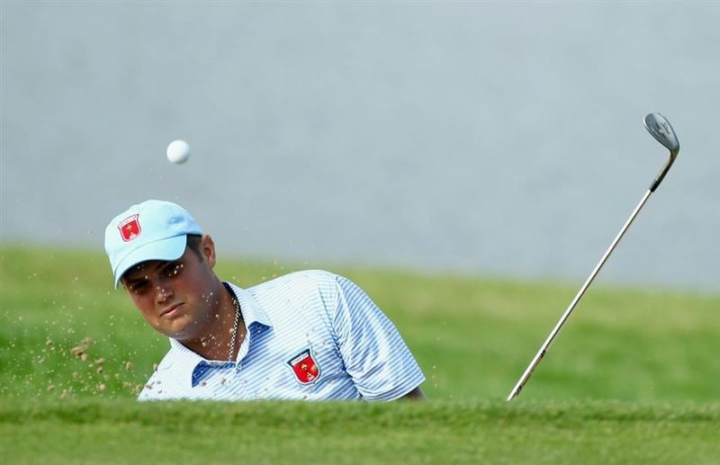 NEWPORT, WALES - SEPTEMBER 28:  Jeff Overton of the USA hits a bunker shot during a practice round prior to the 2010 Ryder Cup at the Celtic Manor Resort on September 28, 2010 in Newport, Wales.  (Photo by Andy Lyons/Getty Images)