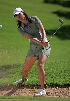 KAPOLEI, HI - FEBRUARY 21: Michelle Wie hits her third shot on the 6th hole during the first round of the Fields Open on February 21, 2008 at the Ko Olina Golf Club in Kapolei, Hawaii. (Photo by Andy Lyons/Getty Images)