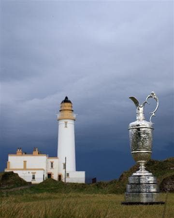 TURNBERRY, SCOTLAND - APRIL 21:  The Open Championship Trophy with the Lighthouse built on the remains of Robert the Bruce's Castle near the 9th and 10th holes on the Ailsa Course venue for the 2009 Open Championship at Turnberry Golf Club on April 21, 2009 in Turnberry, Scotland.  (Photo by David Cannon/Getty Images)