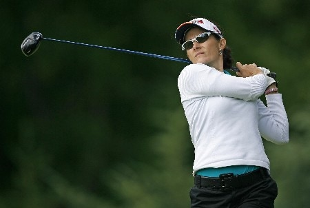 PITTSFORD, NY - JUNE 21: Rachel Hetherington of Australia hits her tee shot on the 6th hole during the second round of the Wegmans at Locust Hill Country Club on June 22, 2007 in Pittsford, New York. (Photo by Hunter Martin/Getty Images)