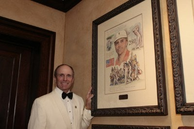 Jerry Pate poses by his portrait by Connecticut illustrator Chris Duke in the new clubhouse during of THE PLAYERS Championship at TPC Sawgrass in Ponte Vedra Beach, Florida, on May 8, 2007. Photo by: Chris Condon/PGA TOURPhoto by: Chris Condon/PGA TOUR