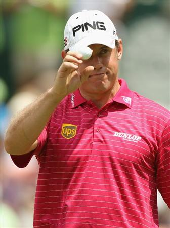 SUN CITY, SOUTH AFRICA - DECEMBER 02:  Lee Westwood of England acknowledges the crowd on the ninth green during the first round of the 2010 Nedbank Golf Challenge at the Gary Player Country Club Course  on December 2, 2010 in Sun City, South Africa.  (Photo by Warren Little/Getty Images)