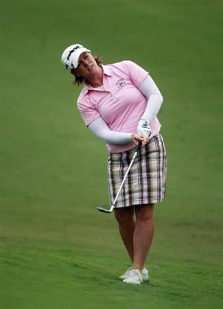 PRATTVILLE, AL - OCTOBER 2: Allison Fouch watches her approach shot to the ninth hole during second round play in the Navistar LPGA Classic at the Robert Trent Jones Golf Trail at Capitol Hill on October 2, 2009 in  Prattville, Alabama.  (Photo by Dave Martin/Getty Images)