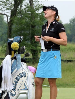 HAVRE DE GRACE, MD - JUNE 04:  Annika Sorenstam of Sweden smiles after finishing her session working on the putting green during practice for the 2008 McDonald's LPGA Championship held at Bulle Rock Golf Course, on June 4, 2008 in Havre de Grace, Maryland.  (Photo by David Cannon/Getty Images)