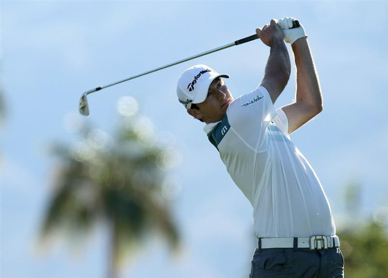 LA QUINTA, CA - JANUARY 20:  Peter Tomasulo hits his tee shot on the 12th hole during round two of the Bob Hope Classic at the La Quinta Country Club on January 20, 2011 in La Quinta, California.  (Photo by Stephen Dunn/Getty Images)