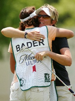 CORNING, NY - MAY 24:  Beth Bader hugs her caddie after finishing on the 18th hole during the first round of the Corning Classic at the Corning Country Club on May 24, 2007 in Corning, New York.  (Photo by Kyle Auclair/Getty Images)