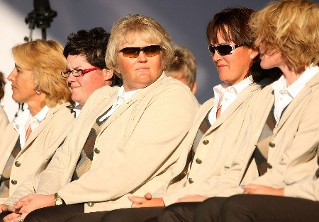 HALMSTAD, SWEDEN - SEPTEMBER 13:  Laura Davies sits on stage with her European teammates during the Opening Ceremony in the town square prior to the start of the Solheim Cup at on September 13, 2007 in Halmstad, Sweden.  (Photo by Scott Halleran/Getty Images)