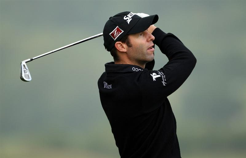 NEWPORT, WALES - JUNE 02:  Bradley Dredge of Wales hits his tee-shot on the third hole during the Pro Am prior to the start of the Celtic Manor Wales Open on The Twenty Ten Course at The Celtic Manor Resort on June 2 2010 in Newport, Wales.  (Photo by Andrew Redington/Getty Images)