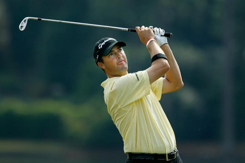 ATLANTA - SEPTEMBER 24:  Ryan Palmer hits his second shot on the 17th hole during the second round of THE TOUR Championship presented by Coca-Cola at East Lake Golf Club on September 24, 2010 in Atlanta, Georgia.  (Photo by Scott Halleran/Getty Images)
