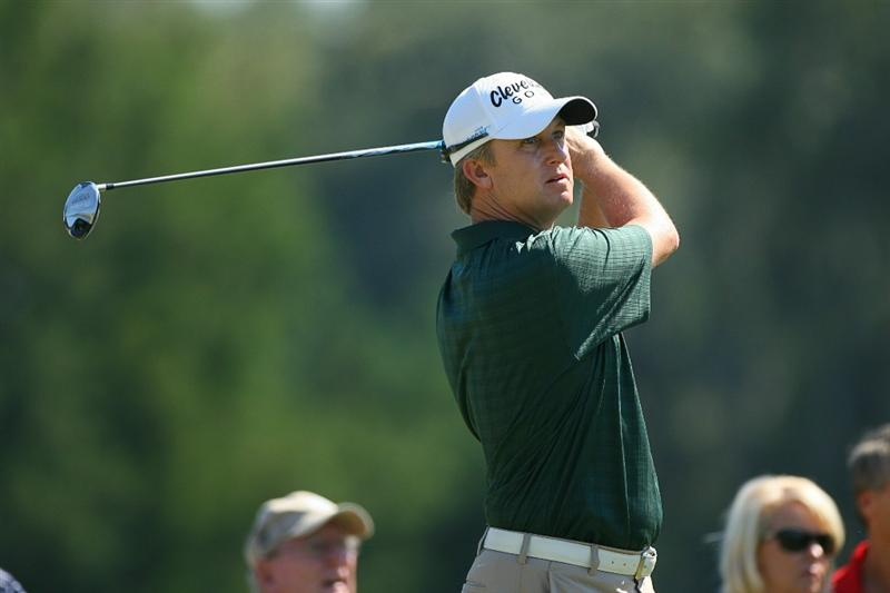 SEA ISLAND, GA - OCTOBER 10: David Toms hits his tee shot on the fourth hole during the final round of the McGladrey Classic at Sea Island's Seaside Course on October 10, 2010 in Sea Island, Georgia. (Photo by Hunter Martin/Getty Images)