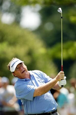 CARMEL, IN - AUGUST 02:  Joey Sindelar of the USA hits his first shot on the 3rd hole during the final round of the 2009 U.S. Senior Open on August 2, 2009 at Crooked Stick Golf Club in Carmel, Indiana.  (Photo by Jamie Squire/Getty Images)