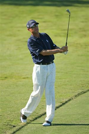 SEA ISLAND, GA - OCTOBER 7 : Davis Love III watches his second shot on the 15th hole during the first round of the McGladrey Classic at Sea Island Seaside Course on October 7, 2010 in Sea Island, Georgia. (Photo by Hunter Martin/Getty Images)