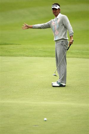 GIRONA, SPAIN - APRIL 30:  Estanislao Goya of Spain reacts to a poor putt on the 18th green during the first round of the Open de Espana at the PGA Golf Catalunya on April 30, 2009 in Girona, Spain.  (Photo by Warren Little/Getty Images)