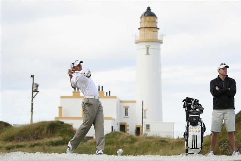 TURNBERRY, SCOTLAND - JULY 14:  Sergio Garcia of Spain tees off on the 10th hole during a practice round prior to the 138th Open Championship on the Ailsa Course, Turnberry Golf Club on July 14, 2009 in Turnberry, Scotland.  (Photo by Ross Kinnaird/Getty Images)
