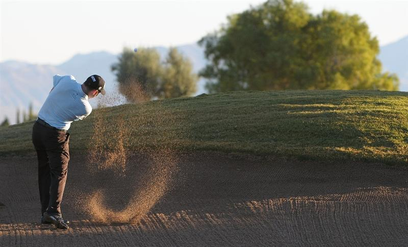 LAS VEGAS, NV- OCTOBER 16: Troy Mattteson hits out of the fairway bunker on the 11th hole during the second round of the Justin Timberlake Shriners Hospitals for Childeren Open at the TPC Summerland on October 16, 2009  in Las Vegas, Nevada. (Photo by Marc Feldman/Getty Images)