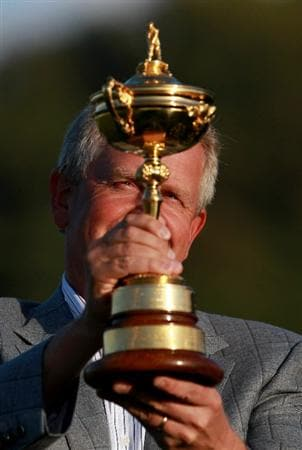 NEWPORT, WALES - OCTOBER 04:  European Team Captain Colin Montgomerie poses with the Ryder Cup following Europe's 14.5 to 13.5 victory over the USA at the 2010 Ryder Cup at the Celtic Manor Resort on October 4, 2010 in Newport, Wales.  (Photo by Andrew Redington/Getty Images)
