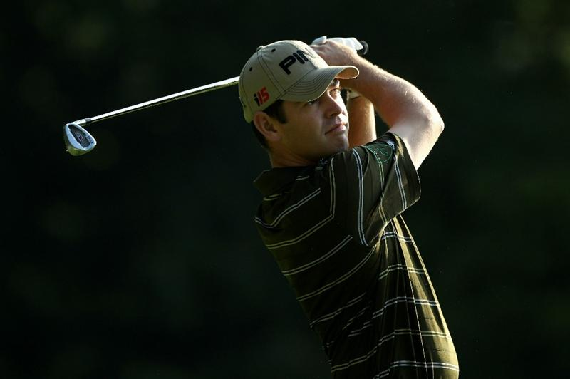 VIRGINIA WATER, ENGLAND - MAY 21:   Louis Oosthuizen of South Africa tees off on the 2nd hole during the second round of the BMW PGA Championship on the West Course at Wentworth on May 21, 2010 in Virginia Water, England.  (Photo by Warren Little/Getty Images)