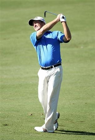 CONOVER, NC - OCTOBER 02:  Fred Funk hits his second shot on the first hole during the second round of the Ensure Classic at the Rock Barn Golf & Spa on October 2, 2010 in Conover, North Carolina.  (Photo by Christian Petersen/Getty Images)