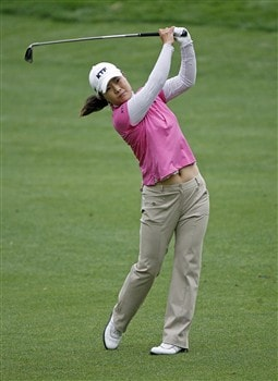WILLIAMSBURG, VA - MAY 10: Meena Lee of Korea hits her second shot on the 8th hole during the third round of the Michelob Ultra Open at Kingsmill Resort & Spa on May 10, 2008 in Williamsburg, Virginia. (Photo by Hunter Martin/Getty Images)