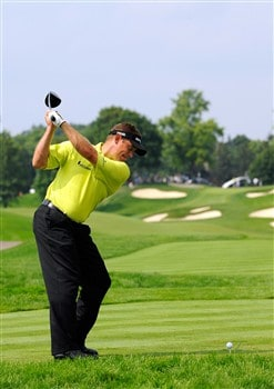 BLOOMFIELD HILLS, MI - AUGUST 07:  Lee Westwood of England tees off on the 11th hole during round one of the 90th PGA Championship at Oakland Hills Country Club on August 7, 2008 in Bloomfield Township, Michigan.  (Photo by Sam Greenwood/Getty Images)