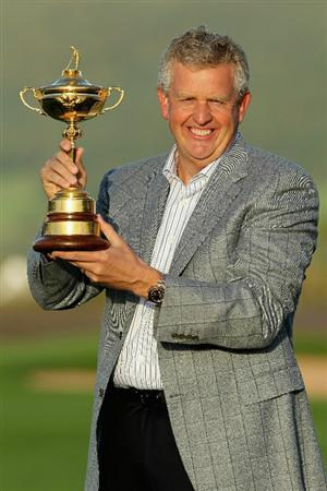 NEWPORT, WALES - OCTOBER 04:  European Team Captain Colin Montgomerie poses with the Ryder Cup following Europe's 14.5 to 13.5 victory over the USA at the 2010 Ryder Cup at the Celtic Manor Resort on October 4, 2010 in Newport, Wales.  (Photo by Andy Lyons/Getty Images)