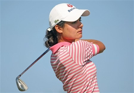 REUNION, FLORIDA - APRIL 19:  Lorena Ochoa of Mexico watches her tee shot on the second hole during the third round of the Ginn Open at Reunion Resort April 19, 2008 in Reunion, Florida.  (Photo by Scott Halleran/Getty Images)
