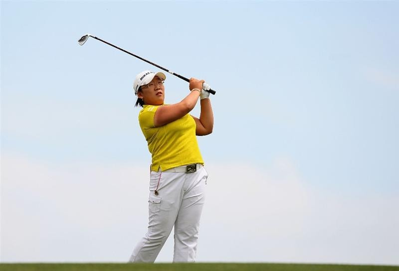 PHOENIX - MARCH 29:  Jiyai Shin of South Korea hits her second shot on the fourth hole during the fourth round of the J Golf Phoenix LPGA International golf tournament at Papago Golf Course on March 29, 2009 in Phoenix, Arizona.  (Photo by Christian Petersen/Getty Images)