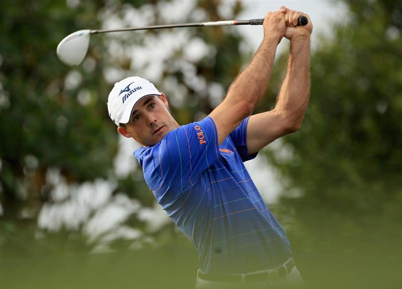CHARLOTTE, NC - MAY 07:  Jonathan Byrd watches a tee shot during the third round of the Wells Fargo Championship at Quail Hollow Club on May 7, 2011 in Charlotte, North Carolina.  (Photo by Streeter Lecka/Getty Images)