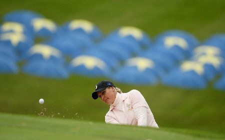 HALMSTAD, SWEDEN - SEPTEMBER 12: Maria Hjorth of Europe hits a bunker shot during practice prior to the start of the Solheim Cup at Halmstad Golf Club on September 12, 2007 in Halmstad, Sweden. (Photo by Jonathan Ferrey/Getty Images)