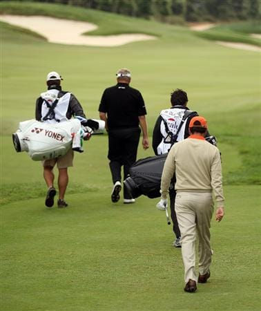 BARCELONA, SPAIN - MAY 07:  Jose Maria Olazabal of Spain makes his way off of the first tee during the third round of the Open de Espana at the Real Club de Golf El Prat on May 7 , 2011 in Barcelona, Spain.  (Photo by Ross Kinnaird/Getty Images)