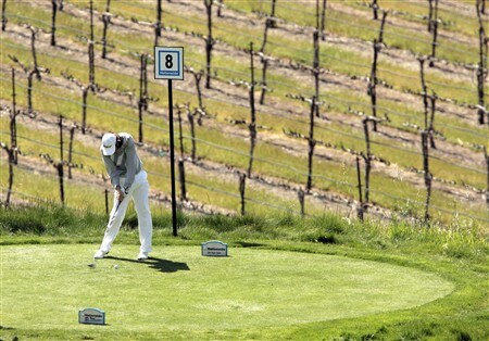 LIVERMORE, CA - APRIL 05: Aaron Price of Australia hits his tee shot off the 7th tee during the third round of the 2008 Livermore Valley Wine Country Championship on April 5, 2008 at the Wente Vineyard in Livermore, California. (Photo By Kent Horner/ Getty Images)