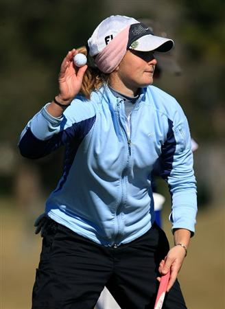 DAYTONA BEACH, FL - DECEMBER 07:  Anna Grzebien celebrates a birdie on the 13th hole during the final round of the LPGA Qualifying School at LPGA International on December 7, 2008 in Daytona Beach, Florida.  (Photo by Scott Halleran/Getty Images)