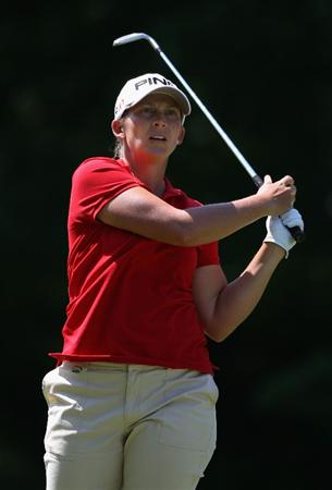 SPRINGFIELD, IL - JUNE 05:  Angela Stanford hits her second  shot on the eighth hole during the second round of the LPGA State Farm Classic golf tournament at Panther Creek Country Club on June 5, 2009 in Springfield, Illinois.  (Photo by Christian Petersen/Getty Images)