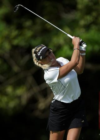 SINGAPORE - FEBRUARY 24:  Natalie Gulbis of the USA during the first round of the HSBC Women's Champions at Tanah Merah Country Club  on February 24, 2011 in Singapore, Singapore.  (Photo by Ross Kinnaird/Getty Images)