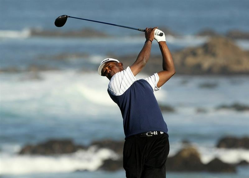 PEBBLE BEACH, CA - FEBRUARY 11:  Vijay Singh of Fiji tees off on the 13th hole during the second round of the AT&T Pebble Beach National Pro-Am at Monterey Peninsula Country Club on February 11, 2011 in Pebble Beach, California.  (Photo by Ezra Shaw/Getty Images)