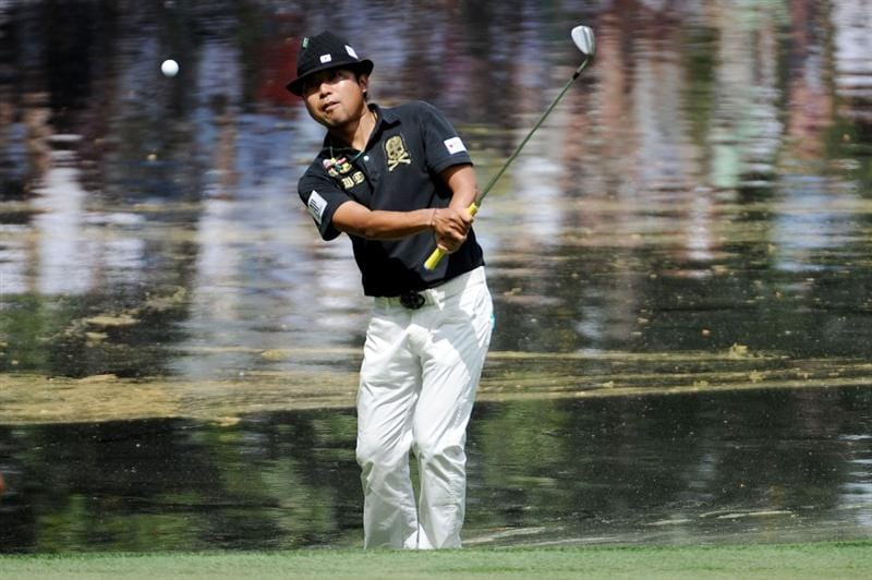 AUGUSTA, GA - APRIL 07:  Shingo Katayama of Japan hits a shot during the Par 3 Contest prior to the 2010 Masters Tournament at Augusta National Golf Club on April 7, 2010 in Augusta, Georgia.  (Photo by Harry How/Getty Images)