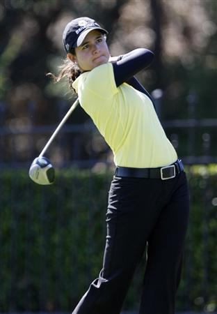 DANVILLE, CA - OCTOBER 11: Lorena Ochoa of Mexico makes makes a tee shot on the 9th hole during the third round of the LPGA Longs Drugs Challenge at the Blackhawk Country Club October 11, 2008 in Danville, California. (Photo by Max Morse/Getty Images)