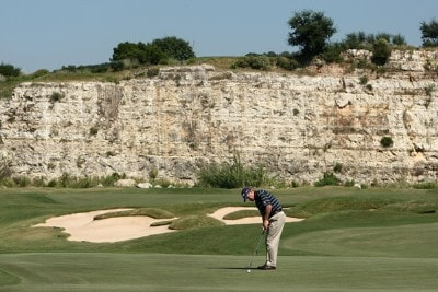 Jeff Maggert putts on the 7th hole during the first round of the Valero Texas Open at La Cantera Golf Club on October 4, 2007 in San Antonio, Texas. PGA TOUR - 2007 Valero Texas Open - First RoundPhoto by Jonathan Ferrey/WireImage.com