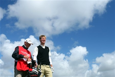 SOUTHPORT, UNITED KINGDOM - JULY 20:  Amateur Chris Wood of England waits with his father/caddie Richard during the final round of the 137th Open Championship on July 20, 2008 at Royal Birkdale Golf Club, Southport, England.  (Photo by Stuart Franklin/Getty Images)