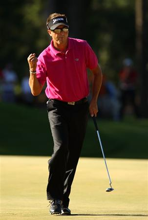 PONTE VEDRA BEACH, FL - MAY 09:  Robert Allenby of Australia celebrates his birdie on the 14th hole during the final round of THE PLAYERS Championship held at THE PLAYERS Stadium course at TPC Sawgrass on May 9, 2010 in Ponte Vedra Beach, Florida.  (Photo by Richard Heathcote/Getty Images)