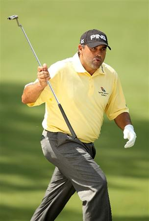 CHARLOTTE, NC - MAY 02:  Angel Cabrera of Argentina reacts to a putt during the final round of the Quail Hollow Championship at Quail Hollow Country Club on May 2, 2010 in Charlotte, North Carolina.  (Photo by Streeter Lecka/Getty Images)